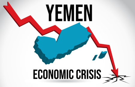 Yemen Map Financial Crisis Economic Collapse Market Crash Global Meltdown Vector Illustration.