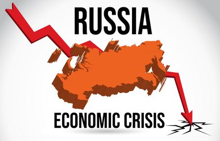Russia Map Financial Crisis Economic Collapse Market Crash Global Meltdown Vector Illustration.