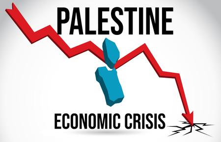 Palestine Map Financial Crisis Economic Collapse Market Crash Global Meltdown Vector Illustration.