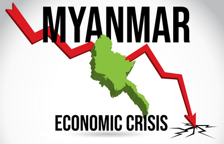 Myanmar Map Financial Crisis Economic Collapse Market Crash Global Meltdown Vector Illustration.