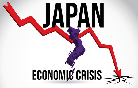 Japan Map Financial Crisis Economic Collapse Market Crash Global Meltdown Vector Illustration.