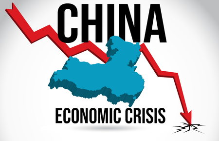 China Map Financial Crisis Economic Collapse Market Crash Global Meltdown Vector Illustration. Vektoros illusztráció