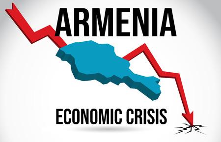 Armenia Map Financial Crisis Economic Collapse Market Crash Global Meltdown Vector Illustration.