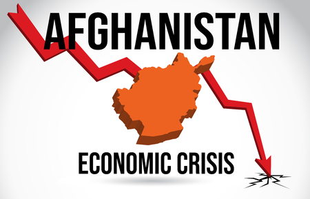 Afghanistan Map Financial Crisis Economic Collapse Market Crash Global Meltdown Vector Illustration.