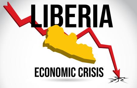 Liberia Map Financial Crisis Economic Collapse Market Crash Global Meltdown Vector Illustration.