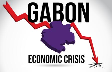 Gabon Map Financial Crisis Economic Collapse Market Crash Global Meltdown Vector Illustration.