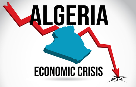 Algeria Map Financial Crisis Economic Collapse Market Crash Global Meltdown Vector Illustration.