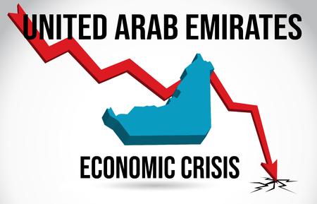 United Arab Emirates Map Financial Crisis Economic Collapse Market Crash Global Meltdown Vector Illustration.