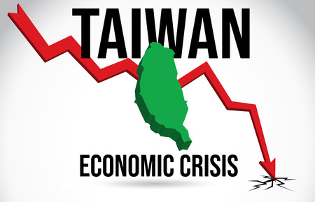 Taiwan Map Financial Crisis Economic Collapse Market Crash Global Meltdown Vector Illustration.