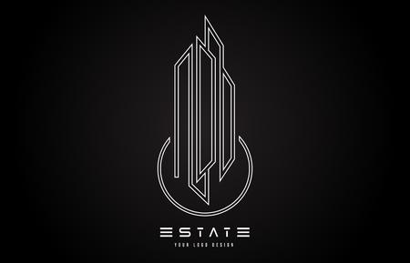 Real Estate Modern Monogram Logo Design. Real Estate Lines Abstract Buildings Icon Vector Illustration.