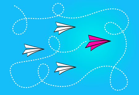 Leadership concept with red paper plane leading white paper planes on blue background