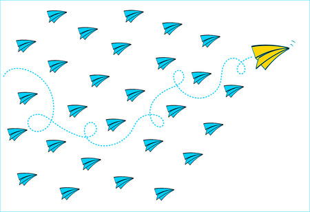 Leadership concept with Yellow paper plane leading among Blue paper planes on White background Vector.