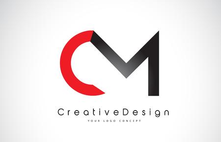 Red and Black CM C M Letter Logo Design in Black Colors. Creative Modern Letters Vector Icon Logo Illustration.