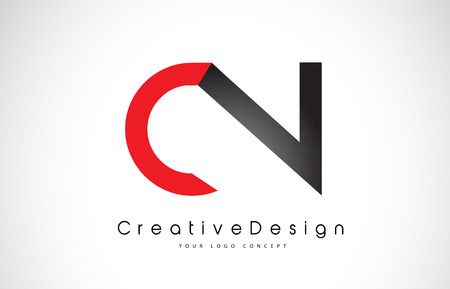 Red and Black CN C N Letter Logo Design in Black Colors. Creative Modern Letters Vector Icon Logo Illustration.
