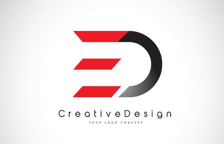 Création de logo de lettre ED ED rouge et noire en couleurs noires. Illustration de logo d'icône de vecteur de lettres modernes créatives.