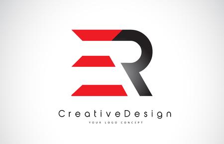 Red and Black ER E R Letter Logo Design in Black Colors. Creative Modern Letters Vector Icon Logo Illustration. Illustration