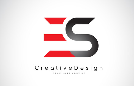 Red and Black ES E S Letter Logo Design in Black Colors. Creative Modern Letters Vector Icon Logo Illustration.