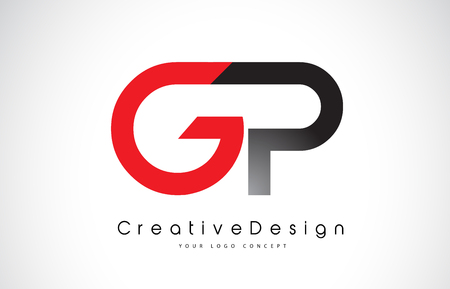 Red and Black GP G P Letter Logo Design in Black Colors. Creative Modern Letters Vector Icon Logo Illustration.