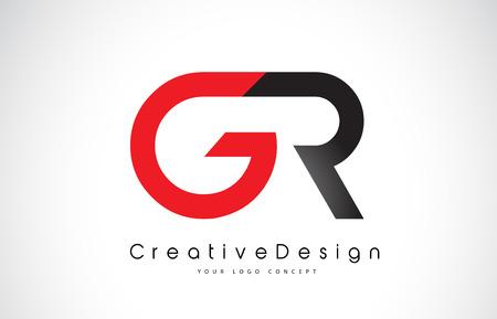 Red and Black GR G R Letter Logo Design in Black Colors. Creative Modern Letters Vector Icon Logo Illustration.