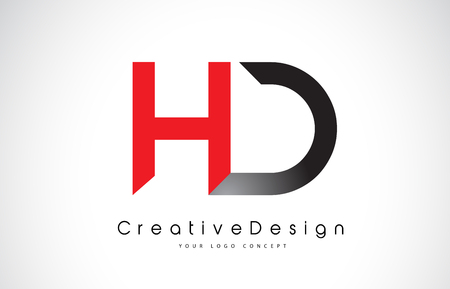 HD H D Letter Logo Design in Red and Black Colors. Creative Modern Letters Vector Icon Logo Illustration.