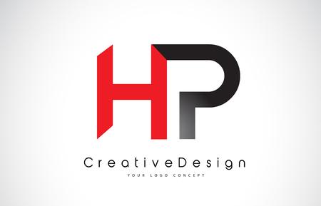 Red and Black HP H P Letter Logo Design in Black Colors. Creative Modern Letters Vector Icon Logo Illustration. Ilustração