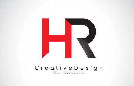 Red and Black HR H R Letter Logo Design in Black Colors. Creative Modern Letters Vector Icon Logo Illustration. Logó