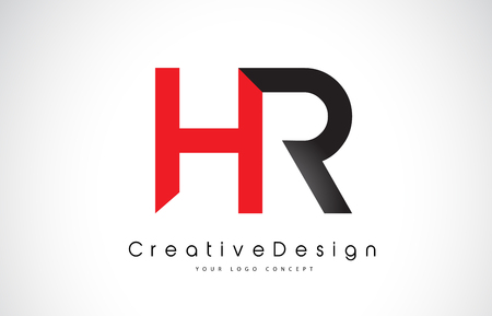Red and Black HR H R Letter Logo Design in Black Colors. Creative Modern Letters Vector Icon Logo Illustration.