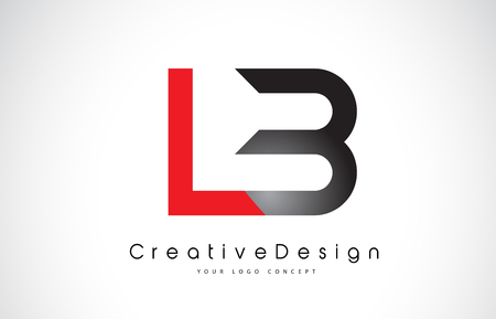 Red and Black LB L B Letter Logo Design in Black Colors. Creative Modern Letters Vector Icon Logo Illustration. Ilustração