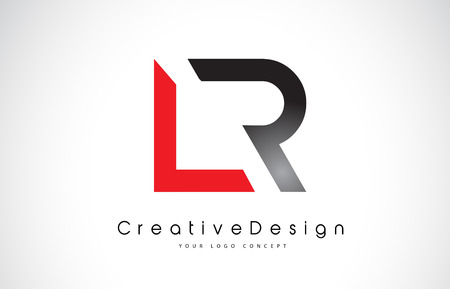 Red and Black LR L R Letter Logo Design in Black Colors. Creative Modern Letters Vector Icon Logo Illustration. Illustration