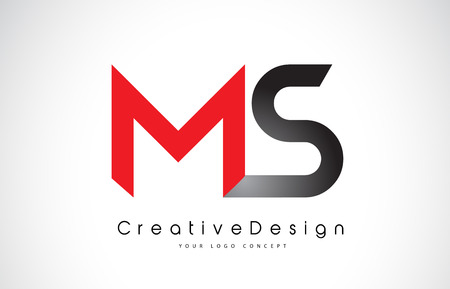 Red and Black MS M S Letter Logo Design in Black Colors. Creative Modern Letters Vector Icon Logo Illustration.