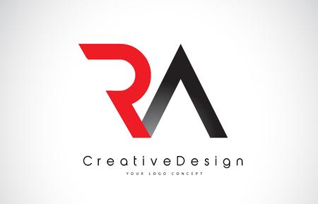 Création de logo de lettre RA RA rouge et noire en couleurs noires. Illustration de logo d'icône de vecteur de lettres modernes créatives.