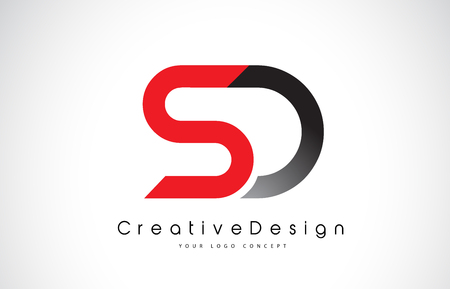Red and Black SD S D Letter Logo Design in Black Colors. Creative Modern Letters Vector Icon Logo Illustration.
