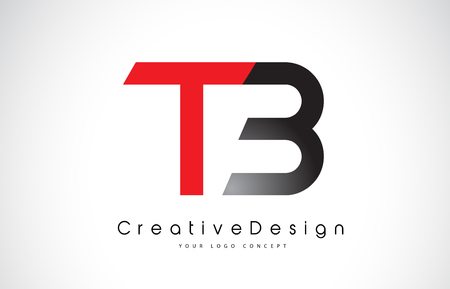 Red and Black TB T B Letter Logo Design in Black Colors. Creative Modern Letters Vector Icon Logo Illustration.