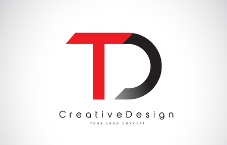 Red and Black TD T D Letter Logo Design in Black Colors. Creative Modern Letters Vector Icon Logo Illustration.