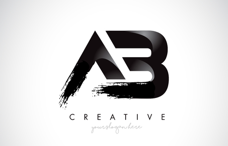 AB Letter Design with Brush Stroke and Modern 3D Look Vector Illustration.