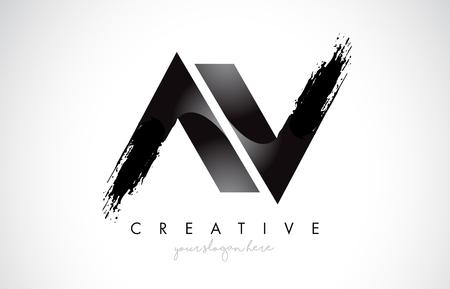 AV Letter Design with Brush Stroke and Modern 3D Look Vector Illustration. Stock Vector - 120461015
