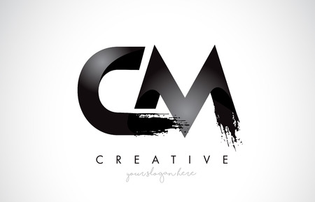 CM Letter Design with Brush Stroke and Modern 3D Look Vector Illustration.