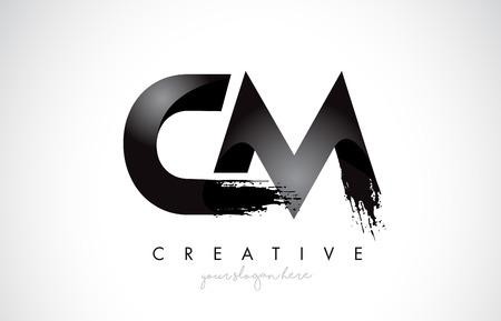 CM Letter Design with Brush Stroke and Modern 3D Look Vector Illustration.