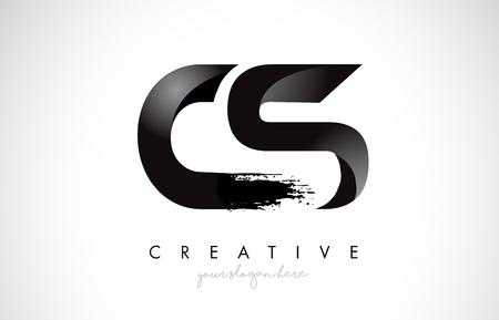 CS Letter Design with Brush Stroke and Modern 3D Look Vector Illustration.