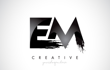 EM Letter Design with Brush Stroke and Modern 3D Look Vector Illustration. 向量圖像