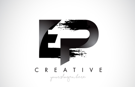 EP Letter Design with Brush Stroke and Modern 3D Look Vector Illustration.