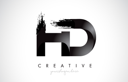 HD Letter Design with Brush Stroke and Modern 3D Look Vector Illustration.