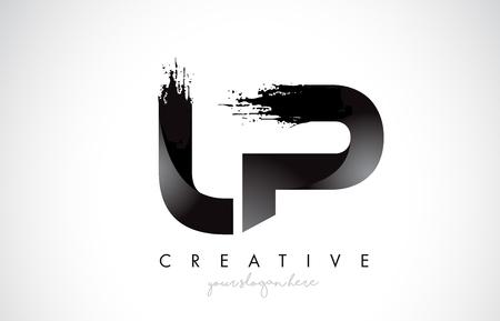 LP Letter Design with Brush Stroke and Modern 3D Look Vector Illustration.