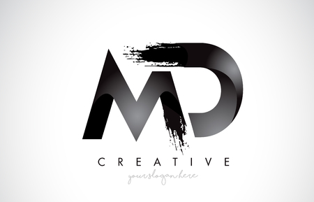 MD Letter Design with Brush Stroke and Modern 3D Look Vector Illustration.