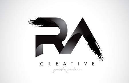 RA Letter Design with Brush Stroke and Modern 3D Look Vector Illustration.
