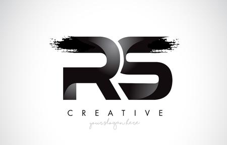 RS Letter Design with Brush Stroke and Modern 3D Look Vector Illustration. Vektoros illusztráció