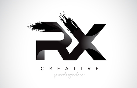 RX Letter Design with Brush Stroke and Modern 3D Look Vector Illustration.