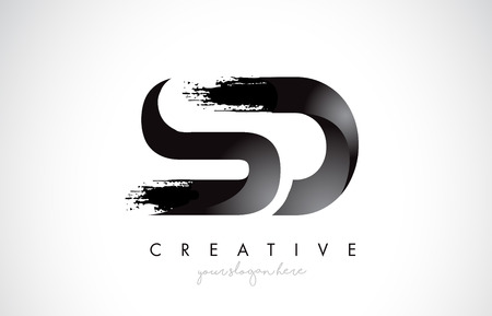 SD Letter Design with Brush Stroke and Modern 3D Look Vector Illustration.