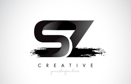 SZ Letter Design with Brush Stroke and Modern 3D Look Vector Illustration.