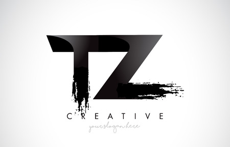 TZ Letter Design with Brush Stroke and Modern 3D Look Vector Illustration.